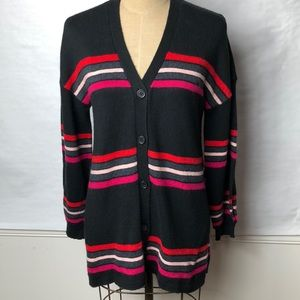 Democracy striped button front cardigan sweater